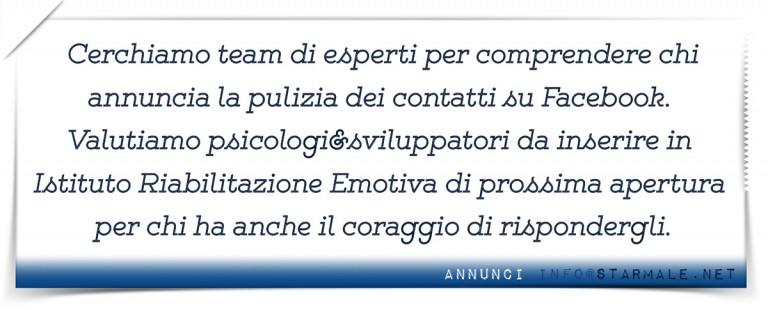 """annunci """"Pulizia Contatti"""""""
