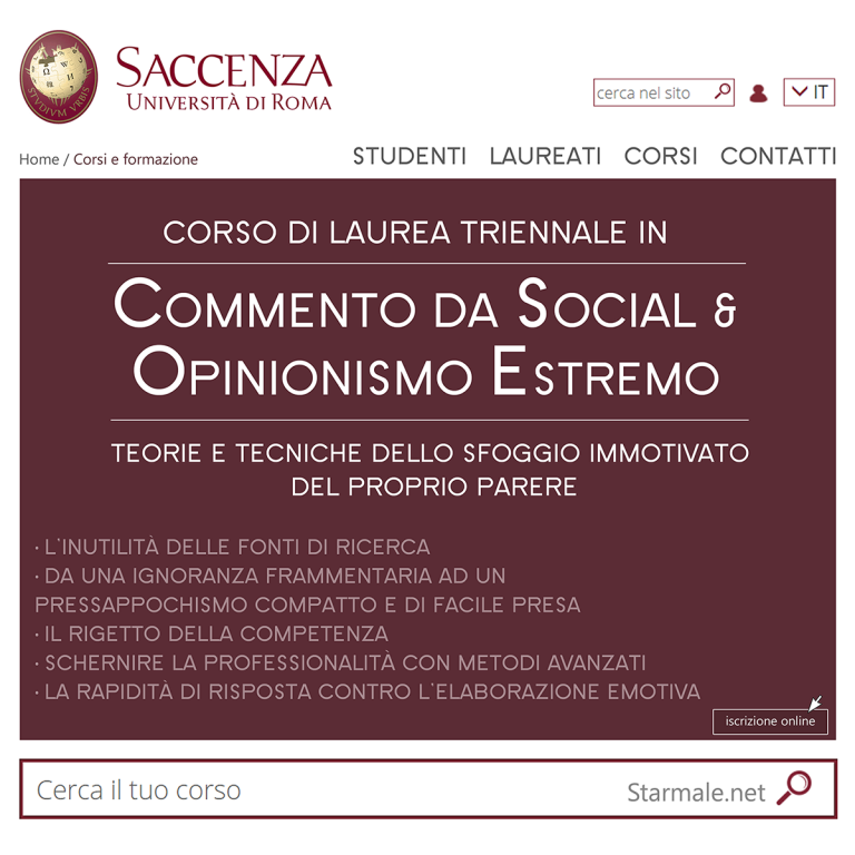 Corso di Laurea in Commento da Social e Opinionismo Estremo